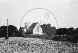 Photograph of Bradwell Abbey 14th Century chapel (1971).