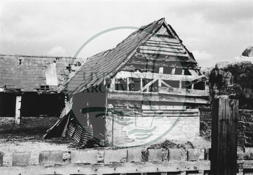 Photograph of farm buildings opposite Georgian farmhouse (1971).
