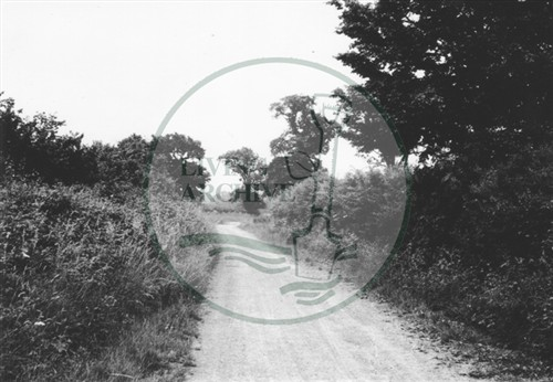 Photograph of country lane from Woughton (1971).