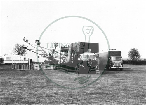 Photograph of funfair at Great Linford (1971).