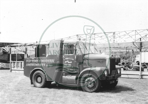 Photograph of Keith Emmett and Son funfair lorry at Willen (1971).