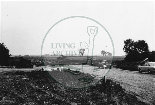 Photograph of the beginning of the construction of the road to Stantonbury (1971).