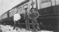 Photograph of the Ambulance Train and workers.