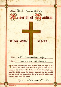 Baptism card for Frank Harry Brown.