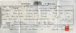 Certificate of Marriage between Thomas Taylor and Louisa Ann Chown.