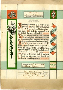 Certificate presented to Louisa Chown on her marriage.