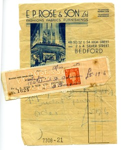 Receipt for Beryl Taylor's wedding gown.