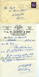 Letter from A.W  Gurney and son in envelope.