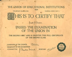 The Union of Educational Institutions certificate 1924.