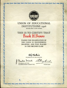 Union of Educational Institutions certificate 1926.