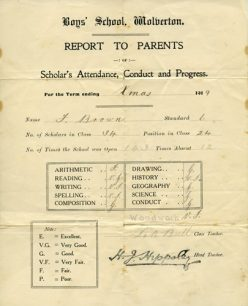 School Report to Parents Xmas 1919.