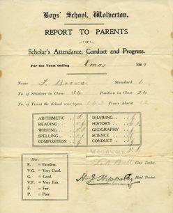School Report to Parents Xmas 1919.