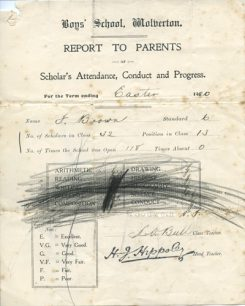 School Report to Parents Easter 1920.