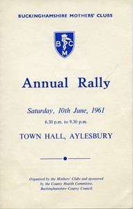 Buckinghamshire Mothers' Clubs Annual Rally Programme.