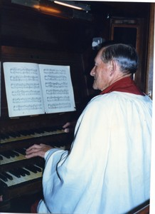 Frank Brown playing the organ in St  Georges Church.