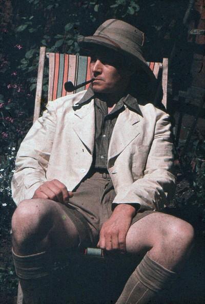 Man sat in a deckchair.