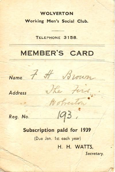 Wolverton working Men's Social Club Member's card.
