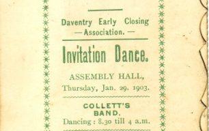 Daventry Early Closing Association Invitation Dance Card.