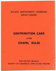 Contribution card and Chapel rules for the Society of Graphical and Allied Trades, Wolverton Branch.