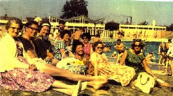The family and friends at Wolverton Pool.