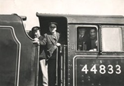 Changing crews on the Royal Train - Stanier engine no. 44833 c. 1950s.