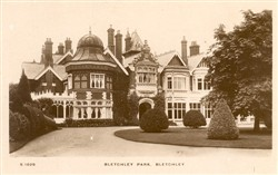 Postcard of  Bletchley Park mansion c1950s.   Illustrative photograph supplied by kind permission of Bletchley Community Heritage Initiative (Accession Ref: BLE/P/3981).
