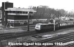 The new Bletchley electric signal box, 1965.