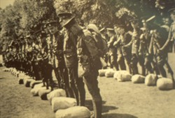 Slide of a photograph of soldiers with packs
