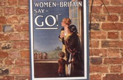 Slide of a WW1 poster 'Women of Britain say Go'