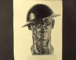 Slide of a sculpture of a soldier
