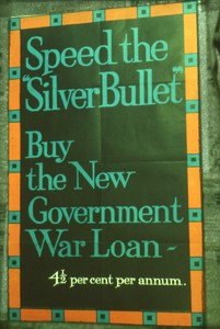 Slide of a poster 'Speed the Silver Bullet'