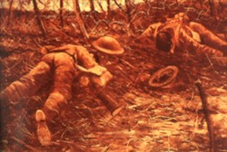 Slide of a painting of two bodies on a trench