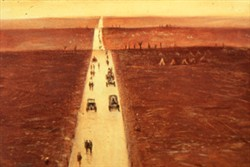 Slide of a painting with a road going down the centre of the scene