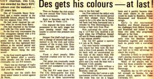 'Des gets his colours - at last'