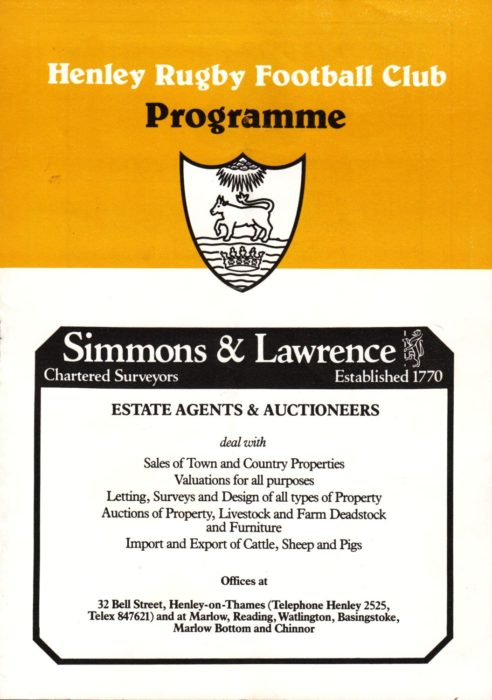 Henley Rugby Football Club Programme