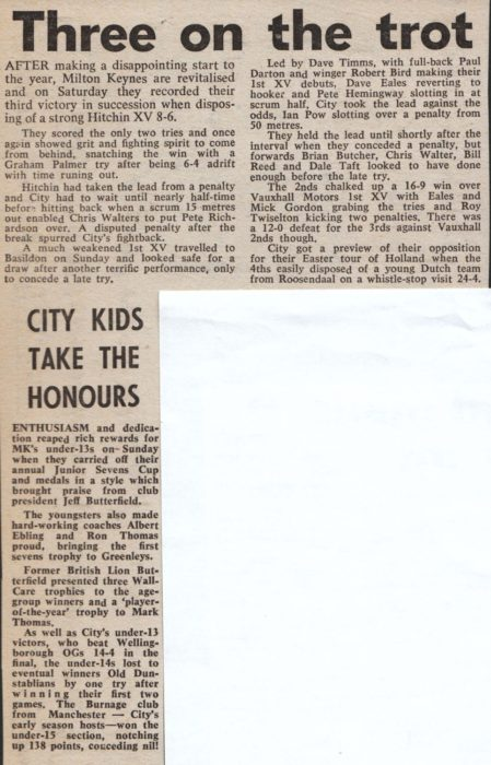 'Three on the trot'; 'City  kids take the honours'