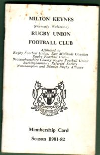 Milton Keynes Rugby Union Football Club Membership Card 1981-1982