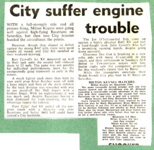 'City suffer engine trouble'; 'City's strength in depth'.