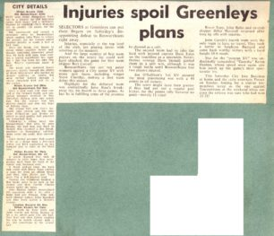 'Injuries spoil Greenleys plans'; Rugby results