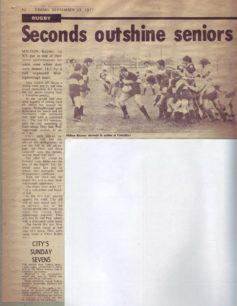 'Seconds outshine seniors'. 'City's Sunday sevens'