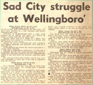 'Sad City struggle at Wellingboro'