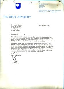 Letter from peter Price, The Open University, to MKRC .