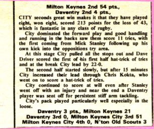 'Milton Keynes 2nd 54 pts, Daventry 2nd 4 pts'