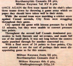 'Northampton Casuals 24 pts, Milton Keynes 1st XV 4 pts'