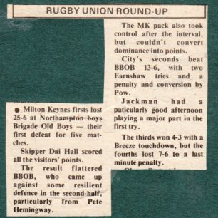 'Rugby Union Round Up'; 'Milton Keynes  shared the honours ?'