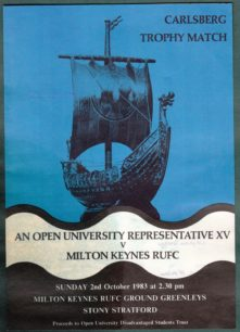 Carlsberg Trophy Match Programme 'An Open University Representative Team v Milton Keynes RUFC'.