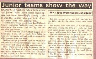 ' Junior teams show the way'.