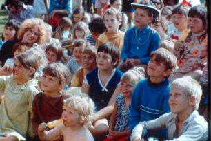 Children watching a puppet show