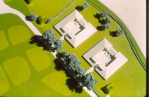 Details of a model of Woughton village