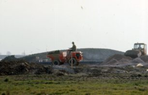 A construction site with dumper truck